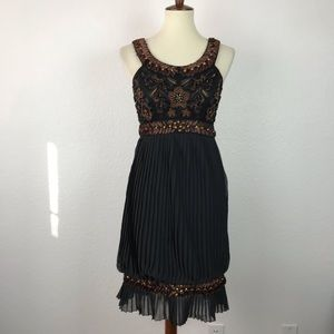 Sue Wong Nocturne Ribbon Beaded Pleated Dress